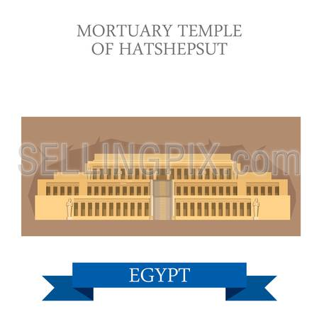 Mortuary Temple of Hatshepsut in Luxor Egypt. Flat cartoon style historic sight showplace attraction web site vector illustration. World countries cities vacation travel Africa sightseeing collection.
