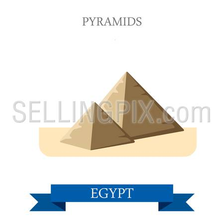 Pyramids in Cairo Egypt. Flat cartoon style historic sight showplace attraction web site vector illustration. World countries cities vacation travel Africa sightseeing collection.