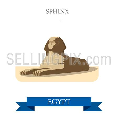 Sphinx in Cairo Egypt. Flat cartoon style historic sight showplace attraction web site vector illustration. World countries cities vacation travel Africa sightseeing collection.
