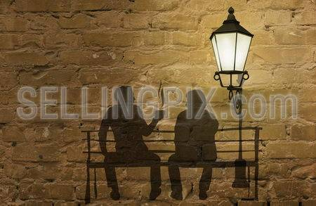 Two silhouettes on a bench (coffee story art on the wall series)
