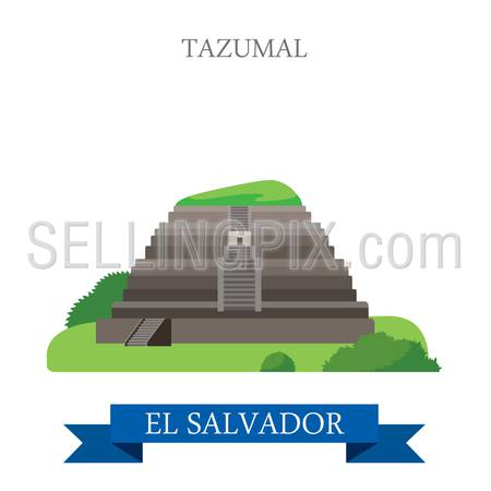 Tazumal in El Salvador. Flat cartoon style historic sight showplace attraction web site vector illustration. World countries vacation travel Central America sightseeing collection.
