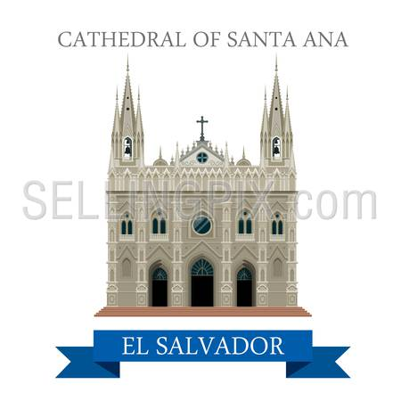 Cathedral of Santa Ana in El Salvador. Flat cartoon style historic sight showplace attraction web site vector illustration. World countries vacation travel Central America sightseeing collection.