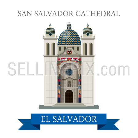 San Salvador Cathedral in El Salvador. Flat cartoon style historic sight showplace attraction web site vector illustration. World countries vacation travel Central America sightseeing collection.