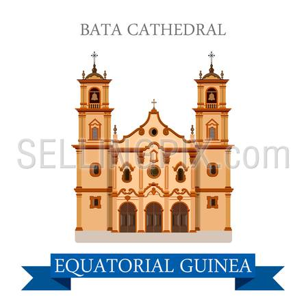 Bata Cathedral in Equatorial Guinea. Flat cartoon style historic sight showplace attraction web site vector illustration. World countries cities vacation travel Africa sightseeing collection.