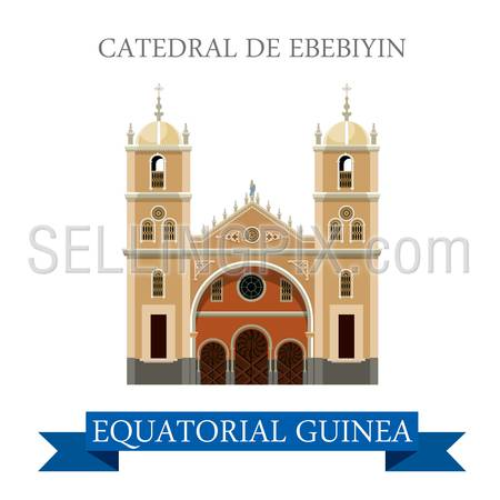 Catedral de Ebebiyin in Equatorial Guinea. Flat cartoon style historic sight showplace attraction web site vector illustration. World countries cities vacation travel Africa sightseeing collection.