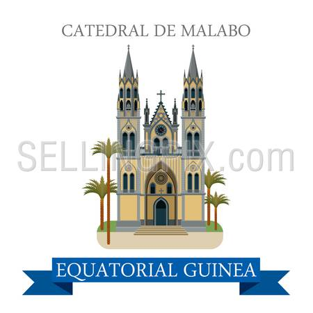 Catedral de Malabo in Equatorial Guinea. Flat cartoon style historic sight showplace attraction web site vector illustration. World countries cities vacation travel Africa sightseeing collection.