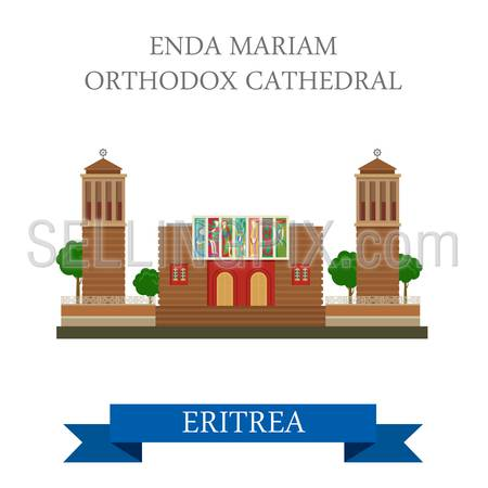 Enda Mariam Coptic Orthodox Cathedral in Eritrea. Flat cartoon style historic sight showplace attraction web site vector illustration. World countries vacation travel Africa sightseeing collection.