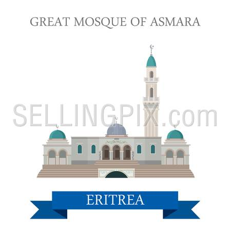 Great Mosque in Asmara Eritrea. Flat cartoon style historic sight showplace attraction web site vector illustration. World countries cities vacation travel Africa sightseeing collection.