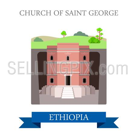 Church of Saint George in Ethiopia. Flat cartoon style historic sight showplace attraction web site vector illustration. World countries cities vacation travel Africa sightseeing collection.