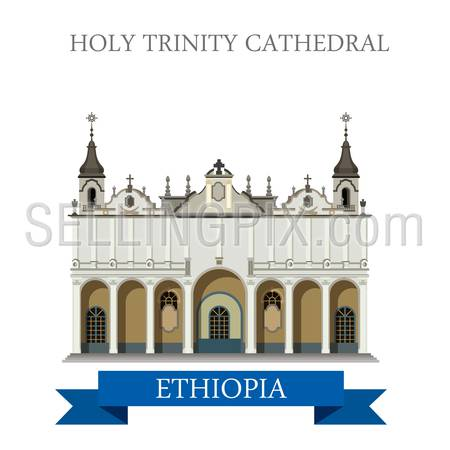 Holy Trinity Cathedral in Ethiopia. Flat cartoon style historic sight showplace attraction web site vector illustration. World countries cities vacation travel Africa sightseeing collection.