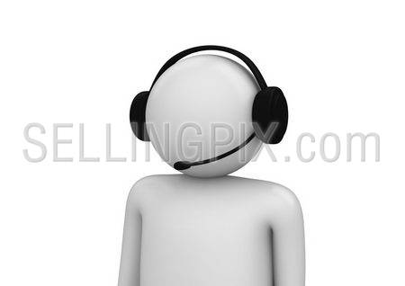 Call center operator close-up (3d isolated on white background characters series)