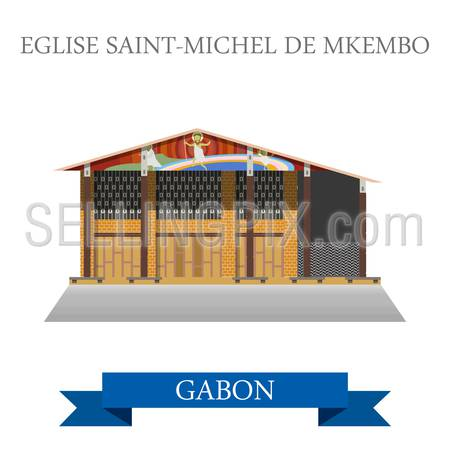 Eglise Saint-Michel de Nkembo in Libreville Gabon. Flat cartoon style historic showplace attraction web site vector illustration. World countries cities vacation travel sightseeing Africa collection.