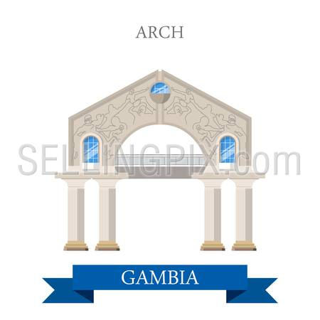 Arch in Gambia. Flat cartoon style historic sight showplace attraction web site vector illustration. World countries cities vacation travel sightseeing Africa collection.