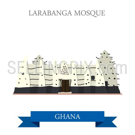 Larabanga Mosque in Ghana. Flat cartoon style historic sight showplace attraction web site vector illustration. World countries cities vacation travel sightseeing Africa collection.