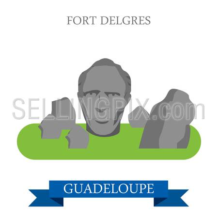 Fort Delgres in Guadeloupe. Flat cartoon style historic sight showplace attraction web site vector illustration. World countries cities vacation travel sightseeing America collection.