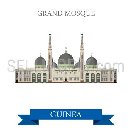 Grand Mosque of Conakry in Guinea. Flat cartoon style historic sight showplace attraction web site vector illustration. World countries cities vacation travel sightseeing Africa collection.