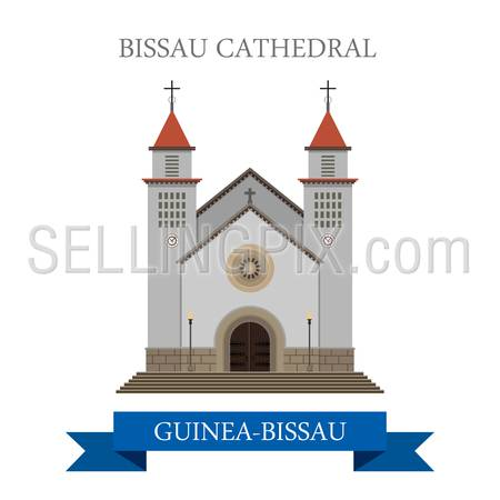 Bissau Cathedral in Guinea-Bissau. Flat cartoon style historic sight showplace attraction web site vector illustration. World countries cities vacation travel sightseeing Africa collection.