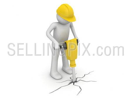 Worker with paving breaker (3d isolated on white background characters series)