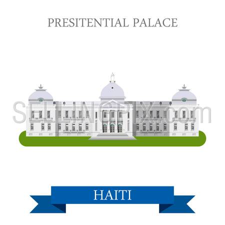 Presidential Palace in Port-au-Prince Haiti. Flat cartoon style historic sight showplace attraction web site vector illustration. World countries cities travel sightseeing Central America collection.