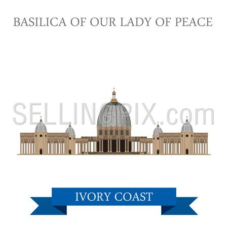 Basilica of Our Lady of Peace in Yamoussoukro Ivory Coast. Flat cartoon style historic sight showplace attraction web site vector illustration. World countries cities sightseeing Africa collection.