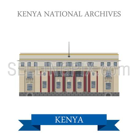 Kenya National Archives in Nairobi. Flat cartoon style historic sight showplace attraction web site vector illustration. World countries cities travel sightseeing Africa collection.