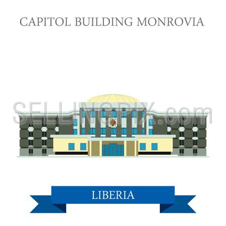 Capitol Building Monrovia in Liberia. Flat cartoon style historic sight showplace attraction web site vector illustration. World countries cities vacation travel sightseeing Africa collection.
