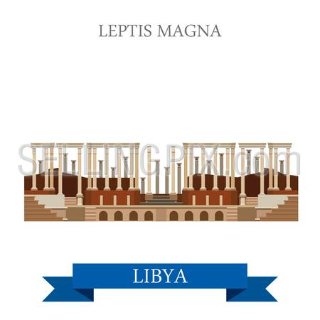 Leptis Magna in Tripoli Libya. Flat cartoon style historic sight showplace attraction web site vector illustration. World countries cities vacation travel sightseeing Africa collection.