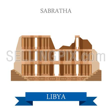 Sabratha in Libya. Flat cartoon style historic sight showplace attraction web site vector illustration. World countries cities vacation travel sightseeing Africa collection.