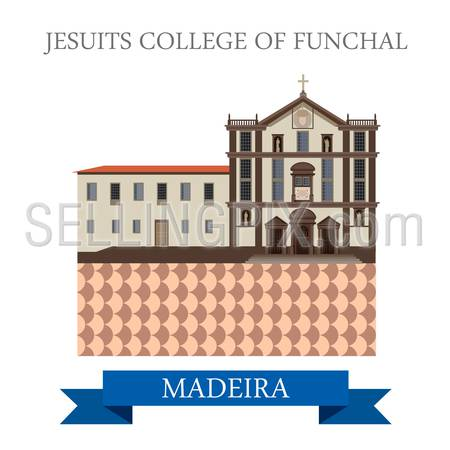 Jesuits' College of Funchal in Madeira. Flat cartoon style historic sight showplace attraction web site vector illustration. World countries cities vacation travel sightseeing Africa island nation collection.