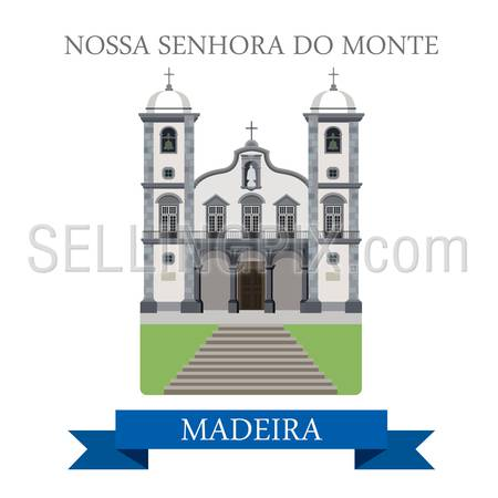 Nossa Senhora do Monte in Madeira. Flat cartoon style historic sight showplace attraction web site vector illustration. World countries cities vacation travel sightseeing Africa island collection.