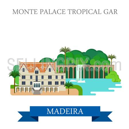 Monte Palace Tropical Garden in Madeira Portugal. Flat cartoon style historic sight showplace attraction web site vector illustration. World countries cities vacation travel sightseeing collection