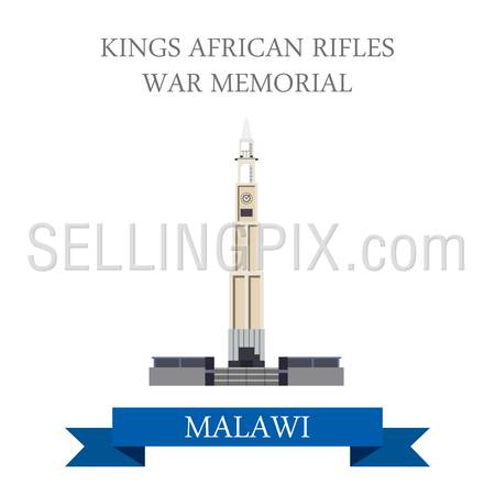 King's African Rifles War Memorial in Zomba Malawi. Flat cartoon style historic sight showplace attraction web site vector illustration. World countries cities vacation travel sightseeing collection.