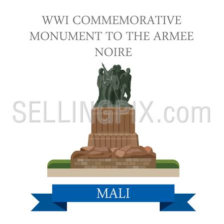 WWI Commemorative Monument to the Armee Noire in Mali. Flat cartoon style historic sight showplace attraction web vector illustration. World countries cities vacation travel sightseeing collection