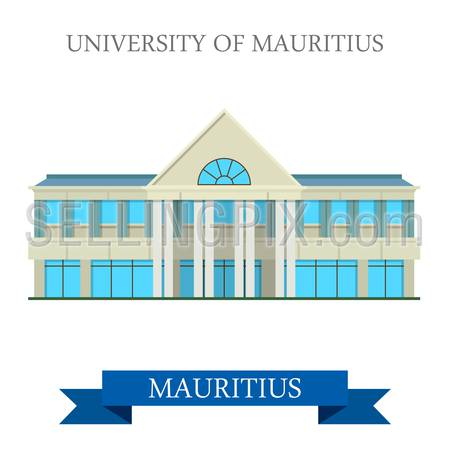 University of Mauritius. Flat cartoon style historic sight showplace attraction web site vector illustration. World countries cities vacation travel sightseeing Africa island nation collection.