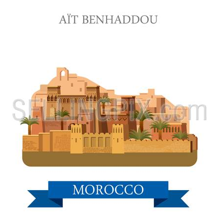 Aït Benhaddou in Marocco. Flat cartoon style historic sight showplace attraction web site vector illustration. World countries cities vacation travel sightseeing Africa collection.