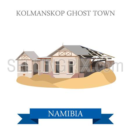 Kolmanskop Ghost Town in Namibia. Flat cartoon style historic sight showplace attraction web site vector illustration. World countries cities vacation travel sightseeing Africa collection.