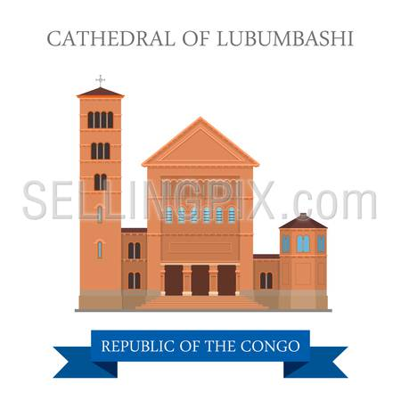 Cathedral of Lubumbashi in Republic of the Congo. Flat cartoon style historic sight showplace attraction web site vector illustration. World countries cities vacation travel sightseeing collection.