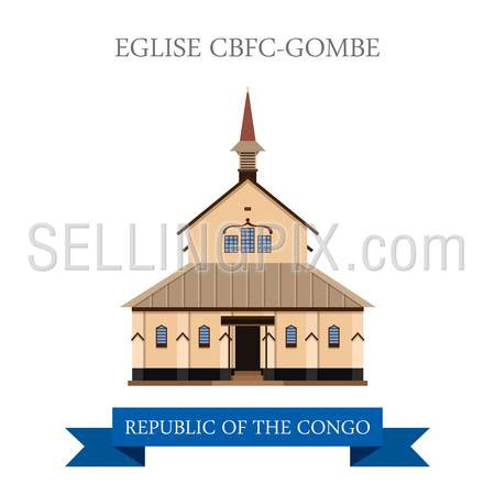 Eglise CBFC-Gombe in Kinshasa in Republic of the Congo. Flat cartoon style historic sight showplace attraction web site vector illustration. World countries vacation travel sightseeing collection