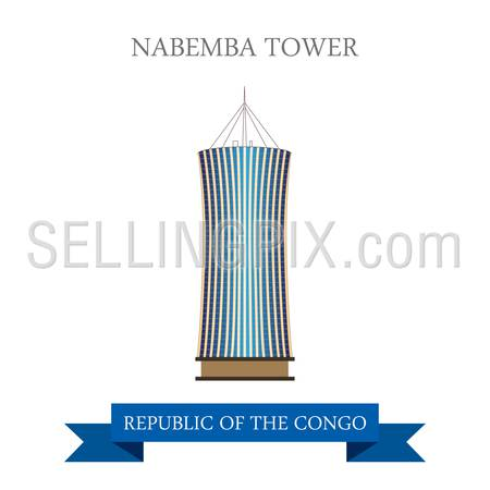 Nabemba Tower in Brazzaville in Republic of the Congo. Flat cartoon style historic sight showplace attraction web site vector illustration. World countries vacation travel sightseeing  collection.