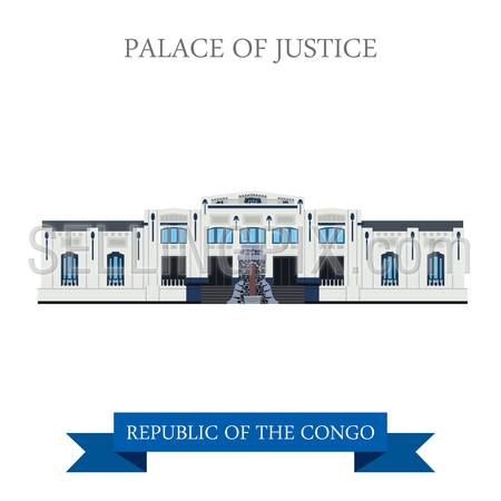 Palace of Justice in Kinshasa in Republic of the Congo. Flat cartoon style historic sight showplace attraction web site vector illustration. World cities vacation travel sightseeing Africa collection