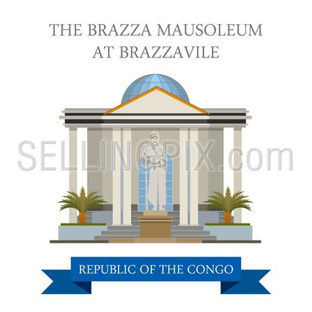 The Brazza Mausoleum at Brazzaville in Republic of the Congo. Flat cartoon style historic sight showplace attraction web site vector illustration. World countries cities vacation travel collection.