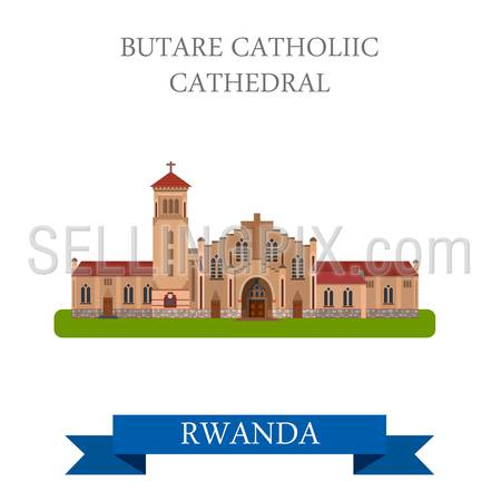Butare Catholic Cathedral in Rwanda. Flat cartoon style historic sight showplace attraction web site vector illustration. World countries cities vacation travel sightseeing Africa collection.
