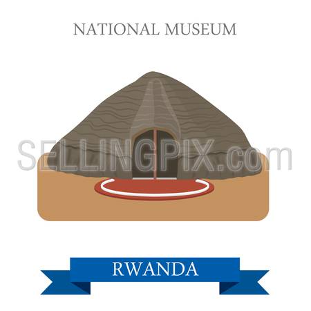 National Museums of Rwanda in Butare. Flat cartoon style historic sight showplace attraction web site vector illustration. World countries cities vacation travel sightseeing Africa collection.