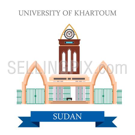 University of Khartoum in Sudan. Flat cartoon style historic sight showplace attraction web site vector illustration. World countries cities vacation travel sightseeing Africa collection.
