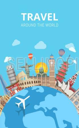 Travel around the world sightseeing template flyer flat style web vector. Globe plane popular city capital sight landmark around Big Ben Kremlin Buddha Colosseum Pagoda Jesus Redeemer