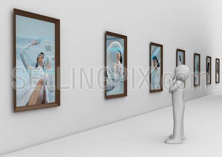 Man in modern photo gallery