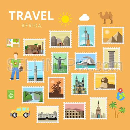 Travel Africa Egypt Pyramid Sphinx map collage. Picture gallery vector template flat style. Tourism sightseeing POI landmark world famous places. Vacation city country collection.