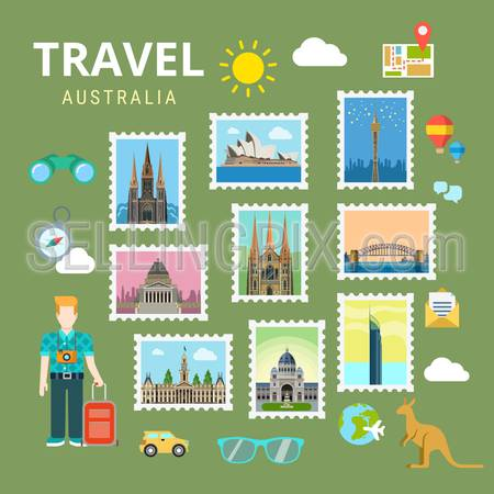 Travel Australia New Zealand. Picture gallery vector template flat style. Tourism sightseeing POI landmark world famous places. Vacation city country collection.