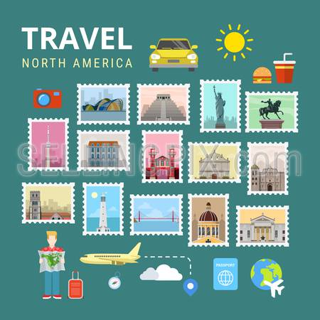 Travel North America USA Canada. Picture gallery vector template flat style. Tourism sightseeing POI landmark world famous places. Vacation city country collection.