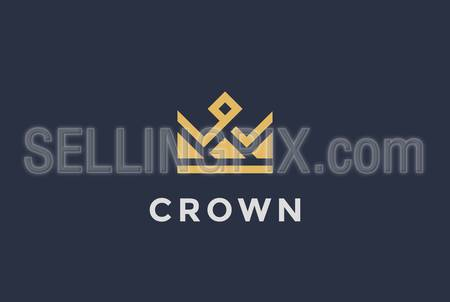 Geometric Crown abstract Logo design vector template. Vintage Royal King Queen symbol Logotype concept icon.